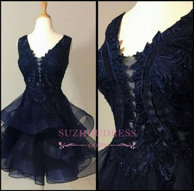 Modest Short Lace Straps Sleeveless Ruffles Homecoming Dress SP0424_4