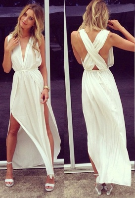 Sexy Prom Dresses  Deep V Neck Sleeveless Chiffon Side Slit Ankle Length Sash White Cross Back Evening Gowns_3