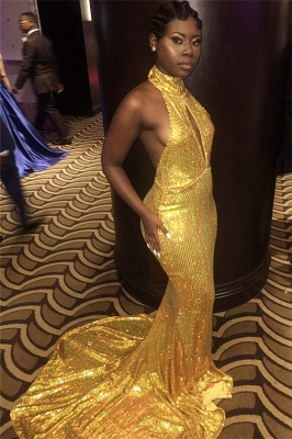 Halter Gold Sequins Sexy Prom Dresses |  Backless Mermaid Evening Gown with Long Train FB0319_3