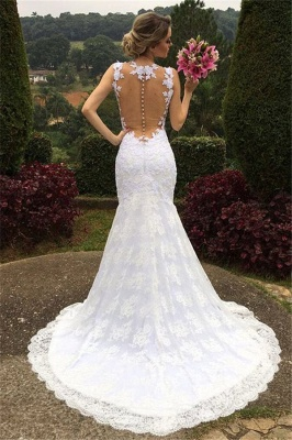 Elegant Mermaid Lace Wedding Dresses  Sleeveless Court Train Hollow-out Bride Dresses_3