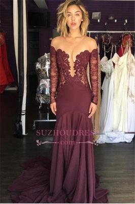 Chiffon Lace Long-Sleeve Sheer Elegant Burgundy Scoop Tulle Evening Dress_1