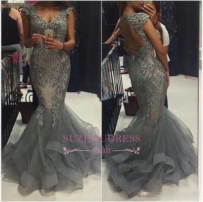 Mermaid V-Neck Tulle Cap Sleeves Crystal Elegant  Evening Dress Open Back Prom Dresses_1