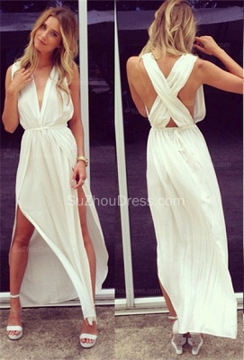 Sexy Prom Dresses  Deep V Neck Sleeveless Chiffon Side Slit Ankle Length Sash White Cross Back Evening Gowns_1