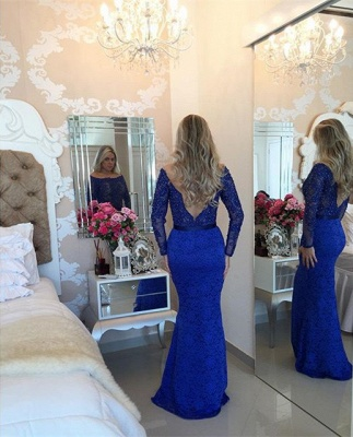 Mermaid Beading Lace  Evening Gown Long Sleeve Open Back Party Dresses_3