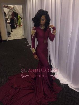 Gold Appliques Burgundy Mermaid Evening Dress High Neck Long Sleeves  Prom Dresses qq0103_3