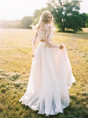 Chiffon Long-Sleeves Lace Two-Piece A-line Elegant Wedding Dresses_2