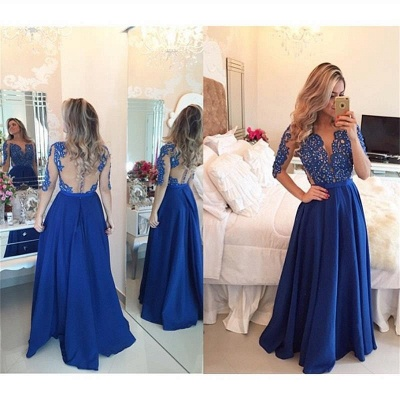 Royal Blue Sleeved Long Prom Dress with Beads Sheer Back Sexy Evening Dress  BMT101_2