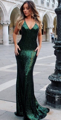 Deep V-neck Open Back Sexy Formal Evening Dresses  Mermaid Sequins Prom Dress BA3586_5