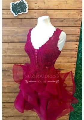 Modest Short Lace Straps Sleeveless Ruffles Homecoming Dress SP0424_5