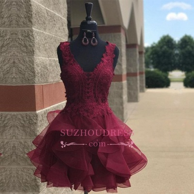 Modest Short Lace Straps Sleeveless Ruffles Homecoming Dress SP0424_1