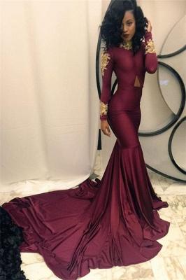 Gold Appliques Burgundy Mermaid Evening Dress High Neck Long Sleeves  Prom Dresses qq0103_4