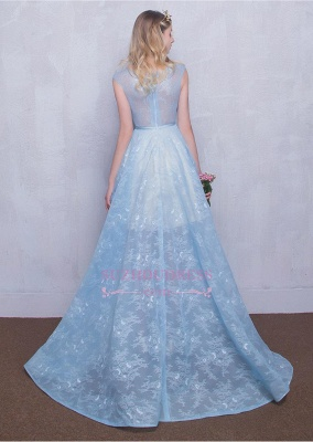 A-line Long Sky Blue Evening Dress  Lace Appliques Sheer Puffy Fairy Prom Dresses_4