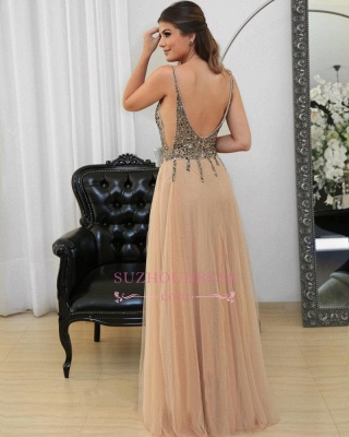Sexy Spaghetti Straps Prom Dresses   Floor-length Long Crystal Evening Gowns_4