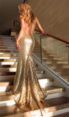 Deep V-neck Open Back Sexy Formal Evening Dresses  Mermaid Sequins Prom Dress BA3586_4