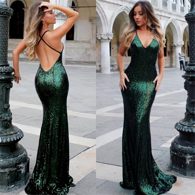 Deep V-neck Open Back Sexy Formal Evening Dresses  Mermaid Sequins Prom Dress BA3586_6