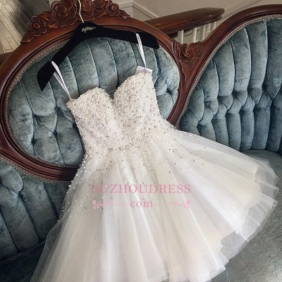 White Spaghetti Straps Tulle Cute Knee-length Pearls Homecoming Dress_1
