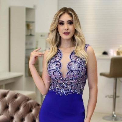 Royal Blue Sleeveless Mermaid Evening Dresses  | Scoop Side-Slit Beading Prom Dresses_5