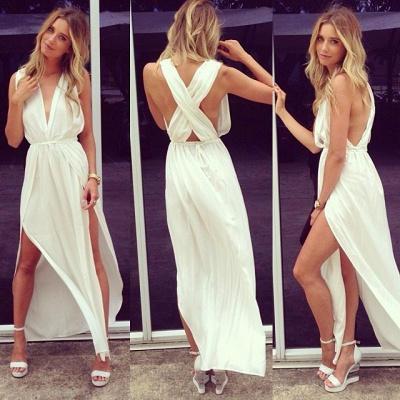 Sexy Prom Dresses  Deep V Neck Sleeveless Chiffon Side Slit Ankle Length Sash White Cross Back Evening Gowns_4