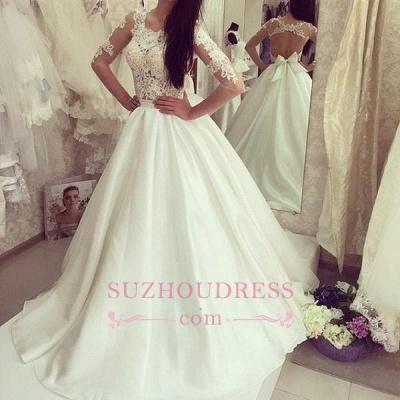 Bow A-line Sweep-train  Half Sleeves Elegant Sweep-train Wedding Dress_1