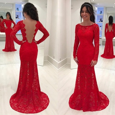 Elegant Red Mermaid Lace Prom Dresses  Long Sleeves Scoop Evening Gowns_3