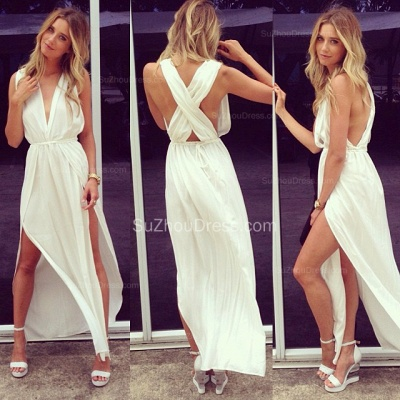 Sexy Prom Dresses  Deep V Neck Sleeveless Chiffon Side Slit Ankle Length Sash White Cross Back Evening Gowns_2