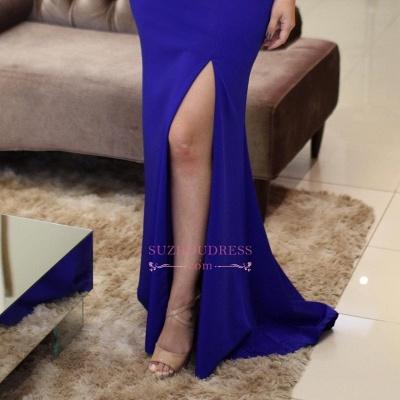 Royal Blue Sleeveless Mermaid Evening Dresses  | Scoop Side-Slit Beading Prom Dresses_1