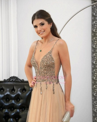 Sexy Spaghetti Straps Prom Dresses   Floor-length Long Crystal Evening Gowns_3