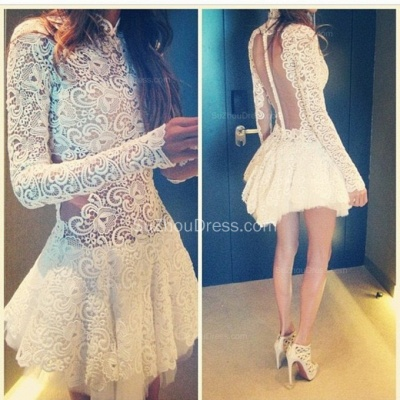 White Prom Dresses  Short High Neck Long Appliques Sleeve Fall Lace See Through Zipper Sexy Evening Gowns BO6427_2