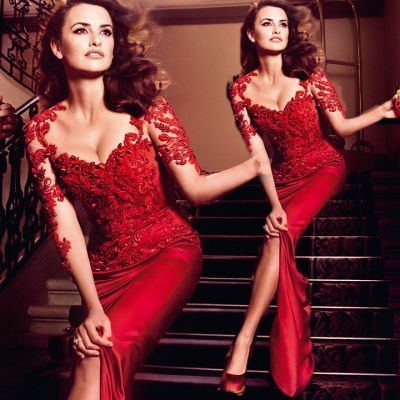 New Arrival Red Evening Gown Lace Slit Front Sleeved Sheath Prom Dresses_3