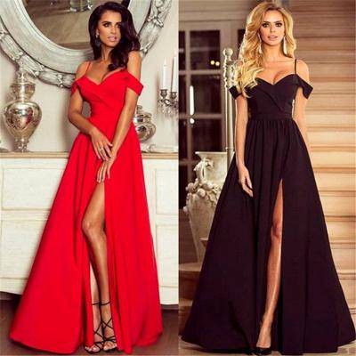 Spaghetti Straps Black Formal Dresses   Sexy Split Long Evening Gown BA7614_4