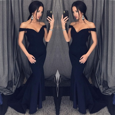 Off The Shoulder Mermaid Sexy Formal Dresses  Sleeveless  Evening Gown_3