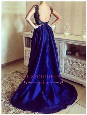 Appliques Open Back Straps Hi-Lo Evening Gown  Blue Sexy Prom Dresses_3