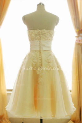 Timeless Short Bridal Dresses Strapless Beading Sequined Crystal Flowers Charming Chiffon Wedding Gowns_6