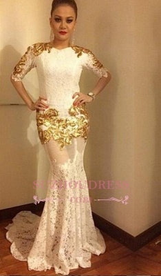 Mermaid Sexy Lace Half Sleeves Evening Gowns  Gold Appliques Prom Dress BA7656_3
