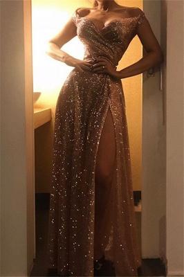 Exquisite A-Line Off-the-Shoulder Long Prom Dress Ruffles Side Slit Sequins Evening Dresses On Sale_1