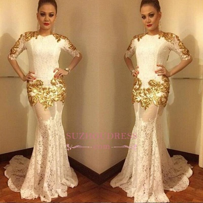 Mermaid Sexy Lace Half Sleeves Evening Gowns  Gold Appliques Prom Dress BA7656_1