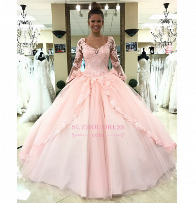 Pink Long Sleeves Lace-Up Evening Dresses | Lace Appliques Open Back Formal Dresses_3