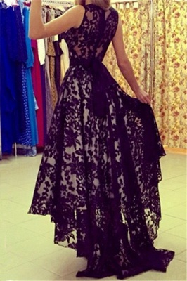 A-Line Black Hi-Lo Lace Prom Dress Latest Custom Made Sleeveless Belt Long Evening Dress BA3906_2