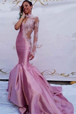 Gorgeous Pink Lace Prom Dresses | Sexy Sheath Mermaid Prom Dresses_1