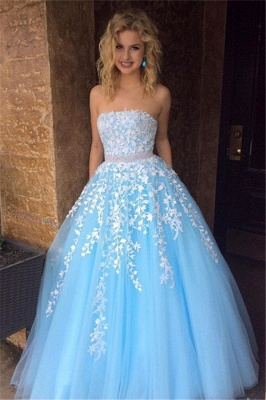 Elegant Srapless A-Line Evening Dresses  Tulle Appliques Prom Dresses_3