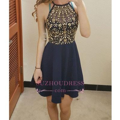 Halter Dark Navy Short Hoco Dress  Gold Crystals Homecoming Dresses_1