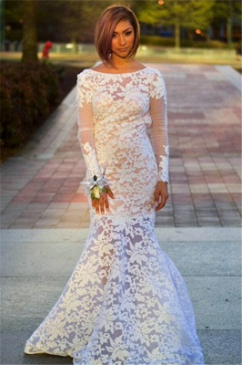 Long Sleeve Lace Evening Dresses Mermaid Backless  Prom Gowns_1