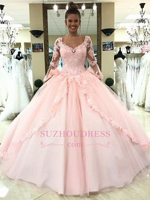 Pink Long Sleeves Lace-Up Evening Dresses | Lace Appliques Open Back Formal Dresses_4