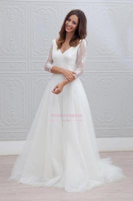 Simple V-neck Bride Dress Lace Tulle A-line Backless  Wedding Dress_3