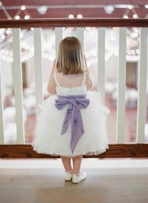 Cute Bowknot Tulle Tea Length Flower Girl Dress New Arrival Custom Made Dresses for Girl_2