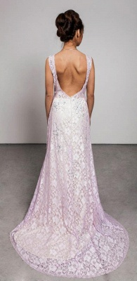 Crystal Pink Lcae Long Evening Dress with Beadings New Arrival Open Back Prom Dress_2