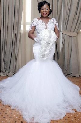 Elegant Mermaid Tulle Lace Wedding Dresses |  Long Sleeves Bridal Gowns_1