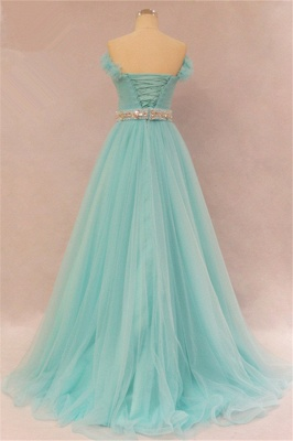Elegant Sweetheart Ruffles Strapless Evening Dresses  Rhinestone Lace Up Prom Gowns_2