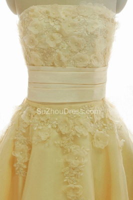 Timeless Short Bridal Dresses Strapless Beading Sequined Crystal Flowers Charming Chiffon Wedding Gowns_4