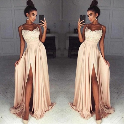 Straps Front Slit Sexy Prom Dress Lace  Champagne Long Evening Dress  BA7097_3